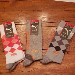 Puma Golf Fusion Argyle and Wordmark Crew Socks